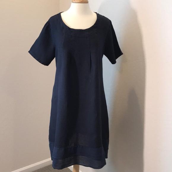 1f8f442ef35 Bohabille Paris Dresses   Skirts - Bohabille Paris Navy Linen Short Sleeve  Dress